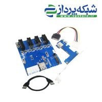 PCI-e express 4port 1X multiplier riser cable diy bitcoin miner